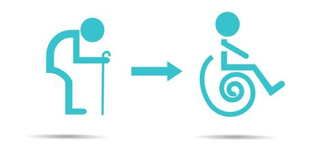 oldman: Sign of oldman and wheelchair.Vector illustration