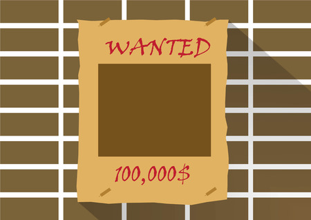 prisoner of the money: Wanted poster with blank face mask on brick wall.Vector illustration