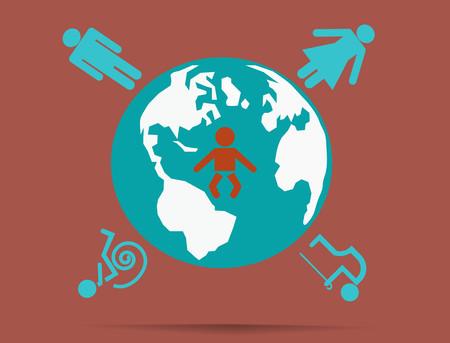 oldman: World of people.Vector illustration