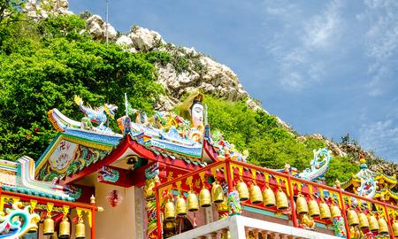 quan yin: Chonburi, Thailand - June 20 2015: The  Quan Yin  locates at Kho sam mok at Tambon Ang Sila, chonburi province,Thailand for everybody to visit.