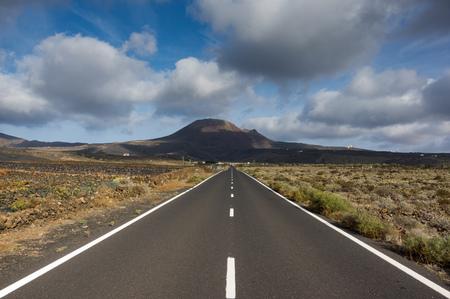 scenic: Scenic road toward Corona volcano, Lanzarote, Canary Islands, Spain