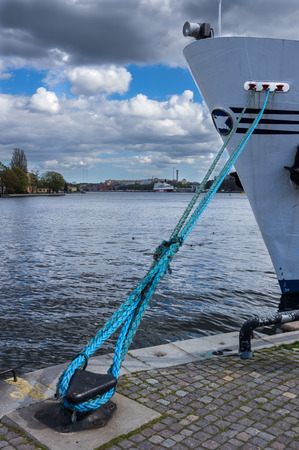 moored: Moored ship near Stockholm city center Stock Photo