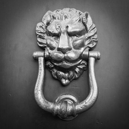 b w: Face door handle Stock Photo