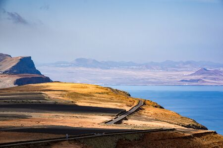 timanfaya: Panoramic road towards Timanfaya park, Lanzarote, Canary Islands