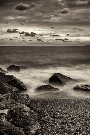 windy: Seaside in a windy day near Cogoleto, Liguria, Italy Stock Photo