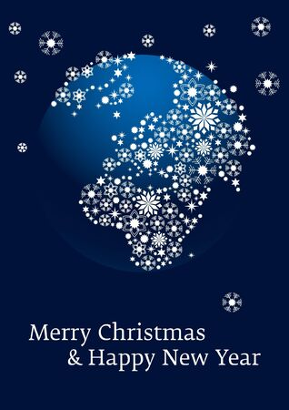 christmas card with snowflakes and earth