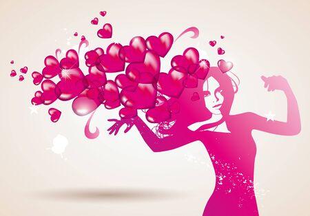 love heart woman valentine Illustration