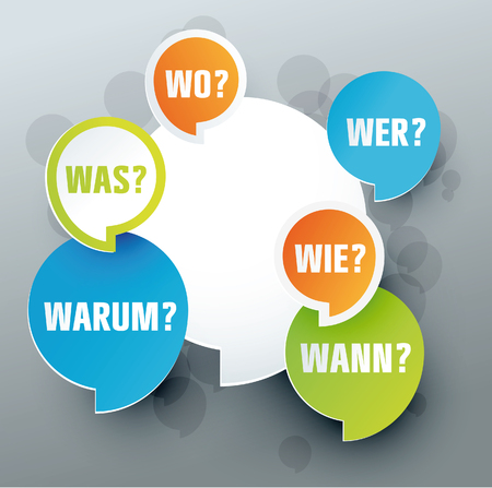 speech bubbles with question words Illustration