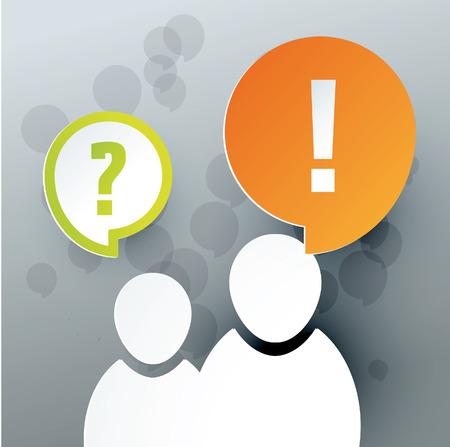 standardiste: ic�nes de deux adultes avec les bulles de dialogue Mark et interrogation