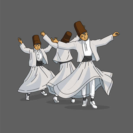 Three Dancing Whirling Dervishes in Traditional Costume (Sikke, Vest, Tennure, Black Belt, Khuff)