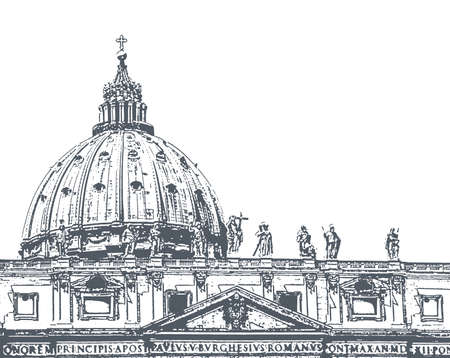 dome: The dome of St. Peters Cathedral, illustration