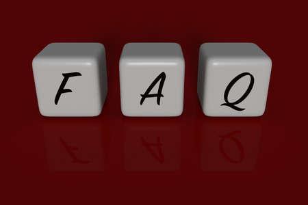 dices: FAQ dices, dark red background