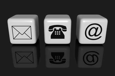 contact icon: Contact us: white cubes on a black background Stock Photo