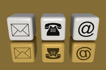sociable: Contact us: white cubes on a golden background