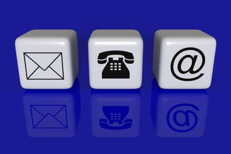 sociable: Contact us: white cubes on a blue background