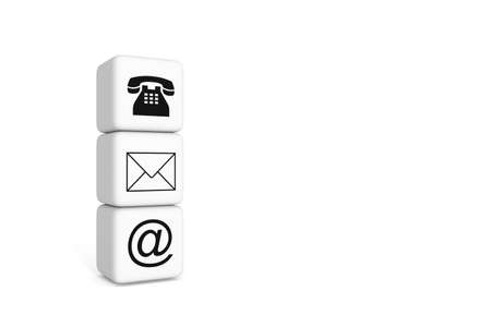 sociable: Contact us: white cubes on a white background Stock Photo