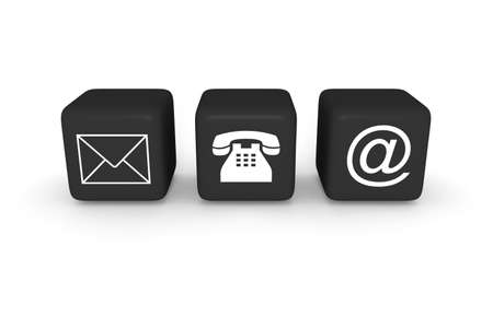 sociable: Contact us: black cubes on a white background