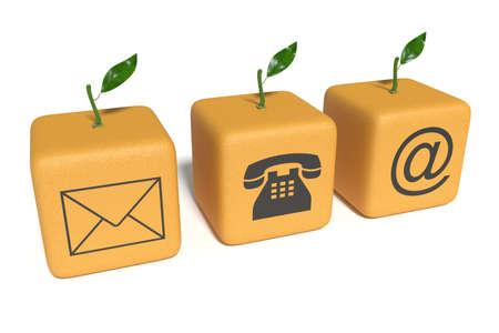 sociable: Contact us: orange cubes on a white background Stock Photo