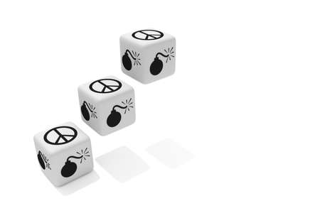 symbol sign: War or Peace: white dice on a white background