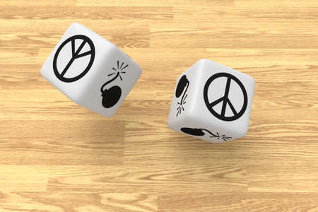 air war: War or Peace: two white dice in the air