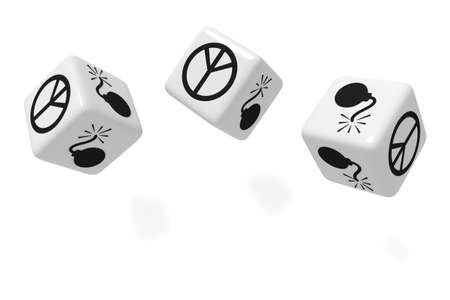 love explode: War or Peace: white dice on a white background