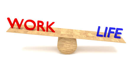 outweigh: work-life balance: words on a wooden seesaw Stock Photo