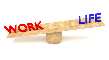 seesaw: work-life balance: words on a wooden seesaw Stock Photo
