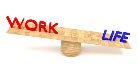 imbalance: work-life balance: words on a wooden seesaw Stock Photo
