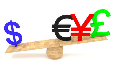 decline in values: Strong Dollar: currencies on a wooden seesaw Stock Photo