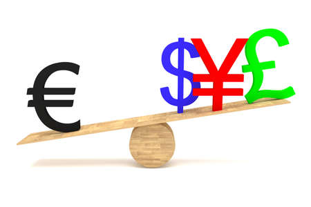 decline in values: Strong Euro: currencies on a wooden seesaw