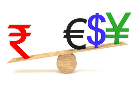 decline in values: Strong Rupee: currencies on a wooden seesaw Stock Photo