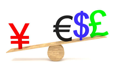 decline in values: Strong Yen: currencies on a wooden seesaw