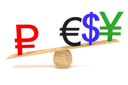 decline in values: Strong Ruble: currencies on a wooden seesaw