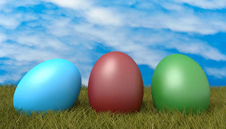 toxic cloud: Easter eggs on grass with blue cloudy sky