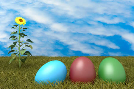 cloudy: Easter eggs on grass with blue cloudy sky and sunflower