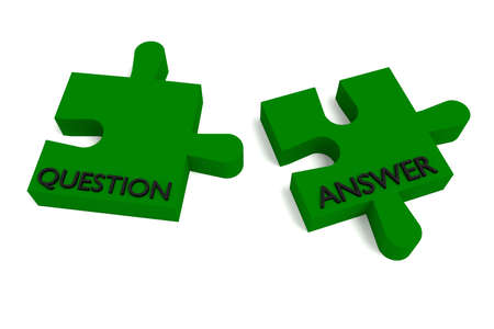 answer: Green puzzle, question and answer Stock Photo