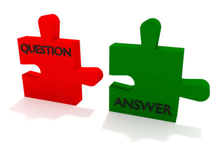compatible: Red and green puzzle, question and answer Stock Photo