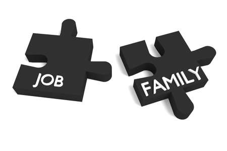 black family: Black Puzzle, job and family Stock Photo