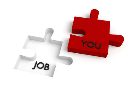 piece: Missing puzzle piece, a job for you, red and white Stock Photo