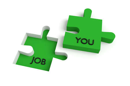 missing puzzle piece: Missing puzzle piece, a job for you, green Stock Photo