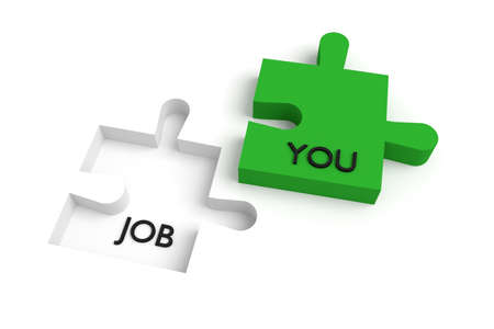 missing link: Missing puzzle piece, a job for you, green and white Stock Photo
