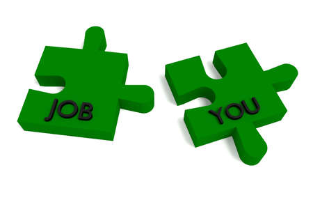 jobless: Green Puzzle, a job for you Stock Photo