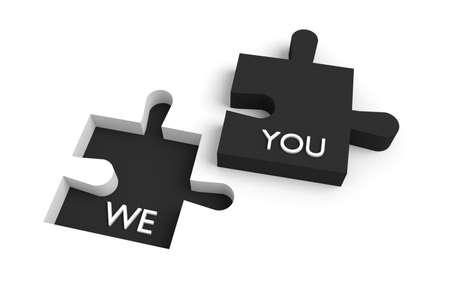 te negro: Pieza faltante del rompecabezas, nosotros y ustedes, negro Foto de archivo