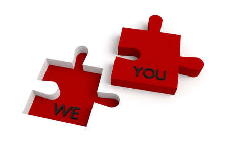 collaborate: Missing puzzle piece, we and you, red Stock Photo