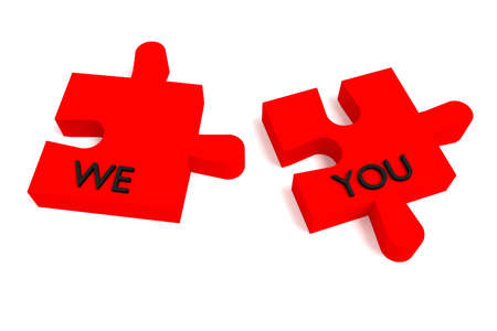 cooperate: Red Puzzle, we and you on white background