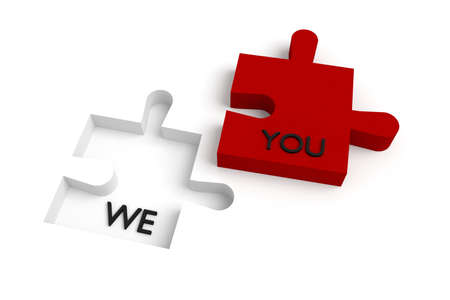 missing puzzle piece: Missing puzzle piece, we and you, red and white Stock Photo