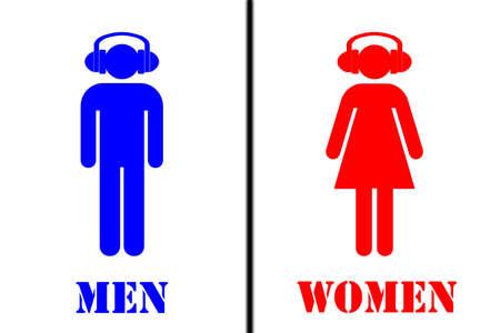 gent's: Toilet sign - men, women with headphones