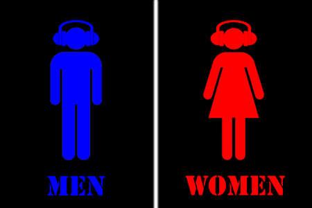 men women: Toilet sign - men, women with headphones