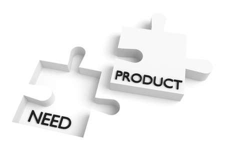 Ontbrekende puzzelstukje, behoefte en product, wit