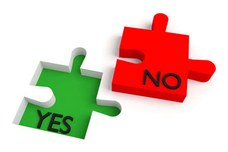 persuade: Missing puzzle piece, yes or no, red and green